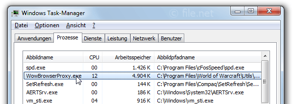 Windows Task-Manager mit WowBrowserProxy
