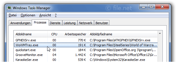 Windows Task-Manager mit WoWMTray