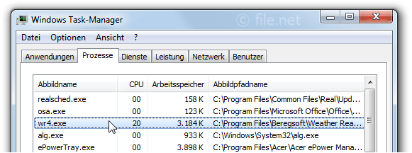 Windows Task-Manager mit wr4