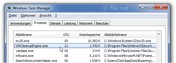 Windows Task-Manager mit WRCleanupEngine