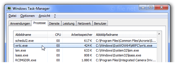 Windows Task-Manager mit wrtc