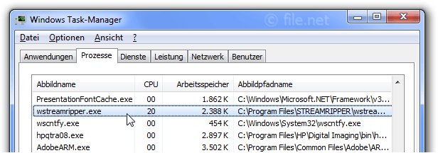 Windows Task-Manager mit wstreamripper