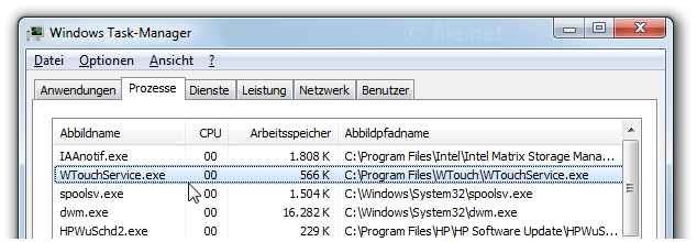 Windows Task-Manager mit WTouchService