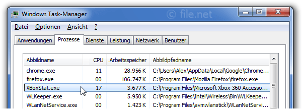 Windows Task-Manager mit XBoxStat