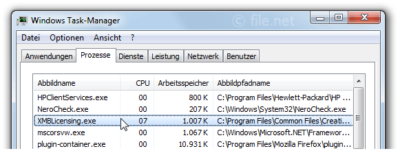 Windows Task-Manager mit XMBLicensing