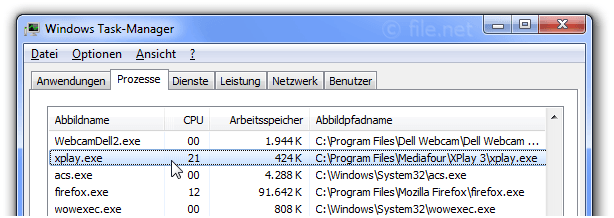 Windows Task-Manager mit xplay