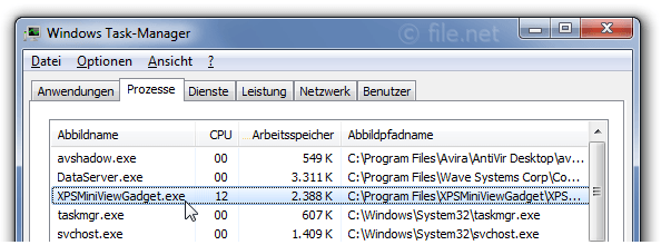 Windows Task-Manager mit XPSMiniViewGadget
