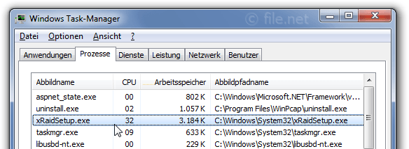 Windows Task-Manager mit xRaidSetup
