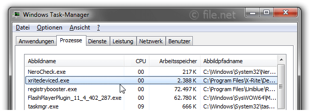 Windows Task-Manager mit xritedeviced