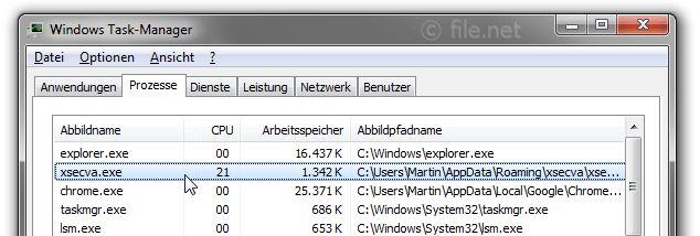 Windows Task-Manager mit xsecva