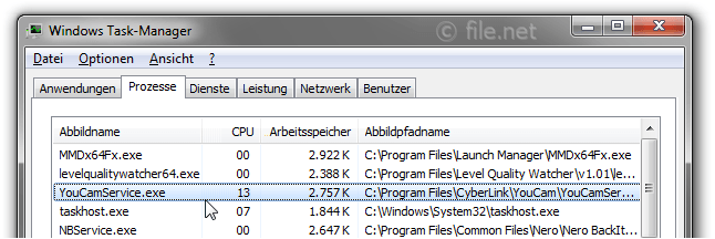Windows Task-Manager mit YouCamService