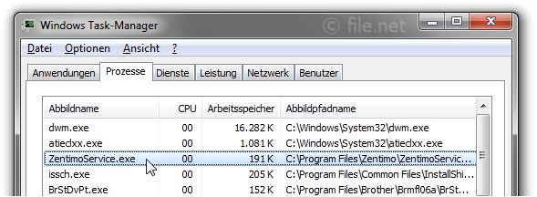 Windows Task-Manager mit ZentimoService