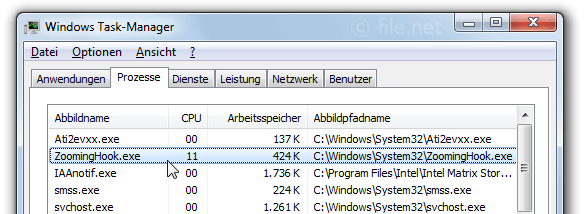Windows Task-Manager mit ZoomingHook