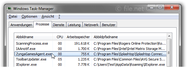 Windows Task-Manager mit ZyngaGamesAgent
