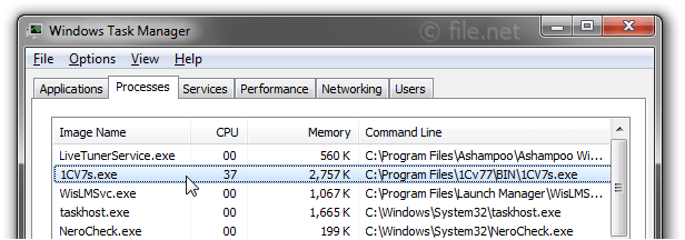 Windows Task Manager with 1CV7s
