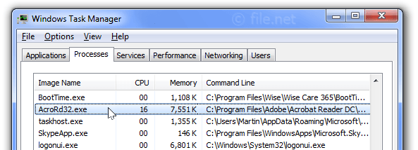 Windows Task Manager with AcroRd32
