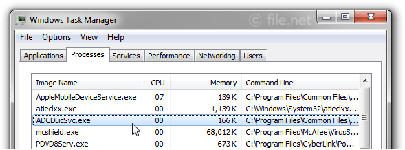 Windows Task Manager with ADCDLicSvc