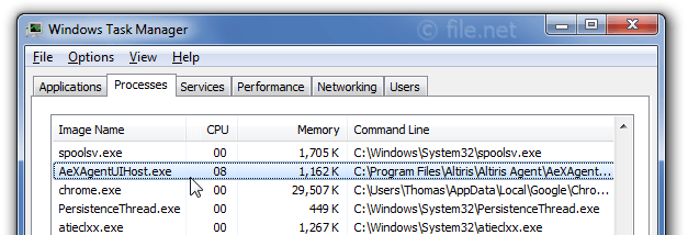 Windows Task Manager with AeXAgentUIHost