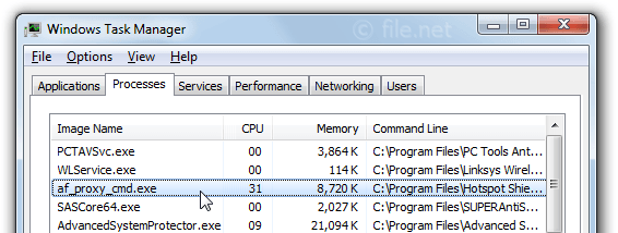 Windows Task Manager with af_proxy_cmd