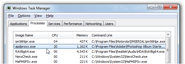 Windows Task Manager with apdproxy