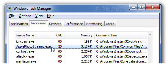 Windows Task Manager with ApplePhotoStreams