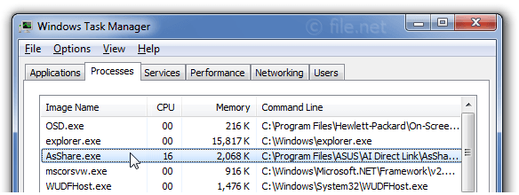 Windows Task Manager with AsShare