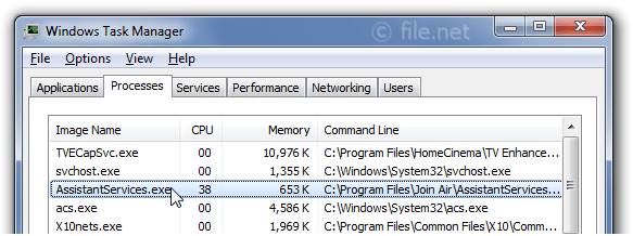 Windows Task Manager with AssistantServices