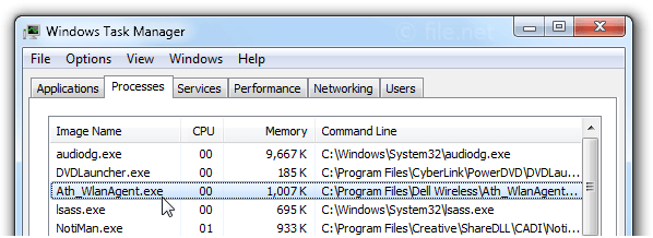 Windows Task Manager with Ath_WlanAgent