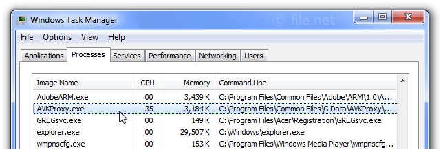 Windows Task Manager with AVKProxy