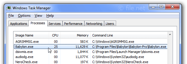 Windows Task Manager with Babylon