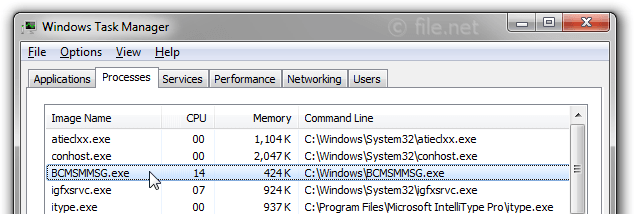 Windows Task Manager with BCMSMMSG