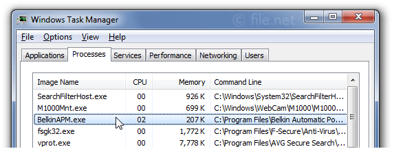 Windows Task Manager with BelkinAPM
