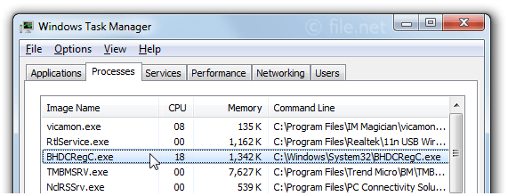 BHDCRegC.exe Windows process - What is it?