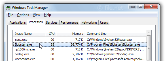 Windows Task Manager with Blubster