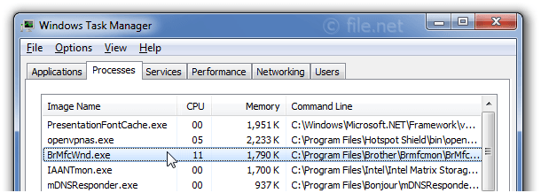 Windows Task Manager with BrMfcWnd