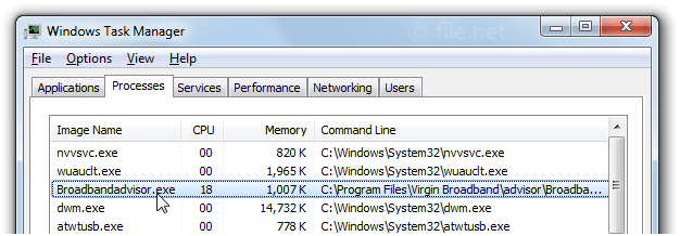Windows Task Manager with Broadbandadvisor