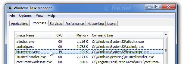 Windows Task Manager with brunvprnpc