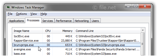 Windows Task Manager with brunvprnps