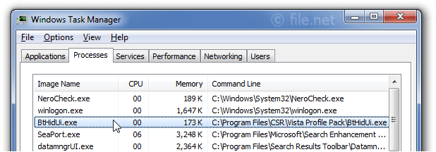 Windows Task Manager with BtHidUi