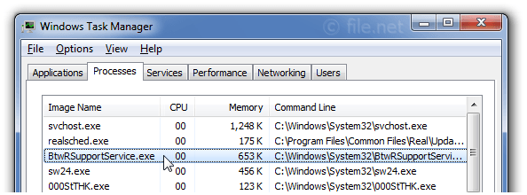 Windows Task Manager with BtwRSupportService