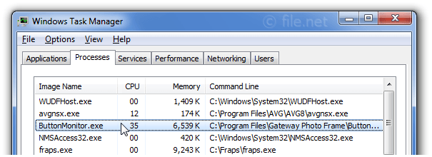 Windows Task Manager with ButtonMonitor