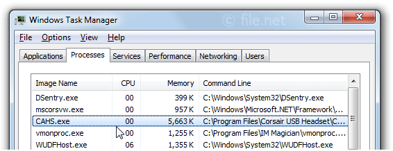 Windows Task Manager with CAHS