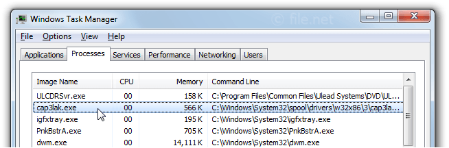 Windows Task Manager with cap3lak
