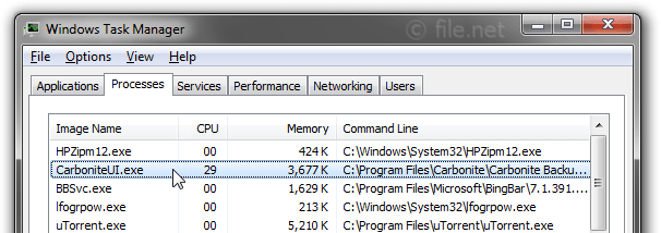 Windows Task Manager with CarboniteUI