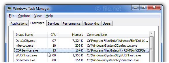 Windows Task Manager with CDPService