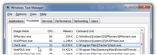 Windows Task Manager with check