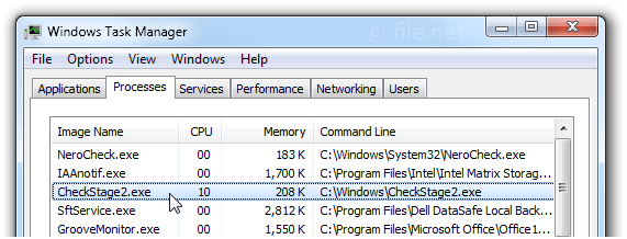 Windows Task Manager with CheckStage2