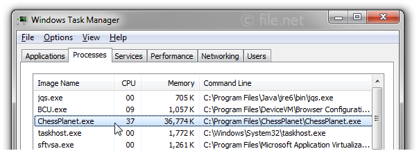 Windows Task Manager with ChessPlanet