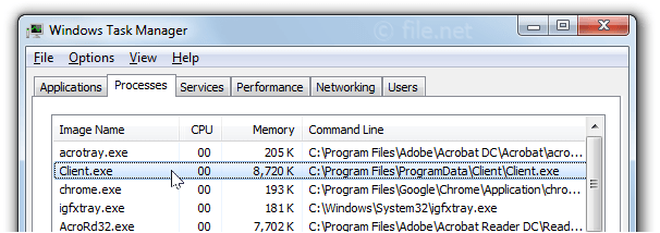 Windows Task Manager with client