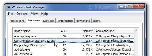 Windows Task Manager with CLMSMonitorServicePDVD12